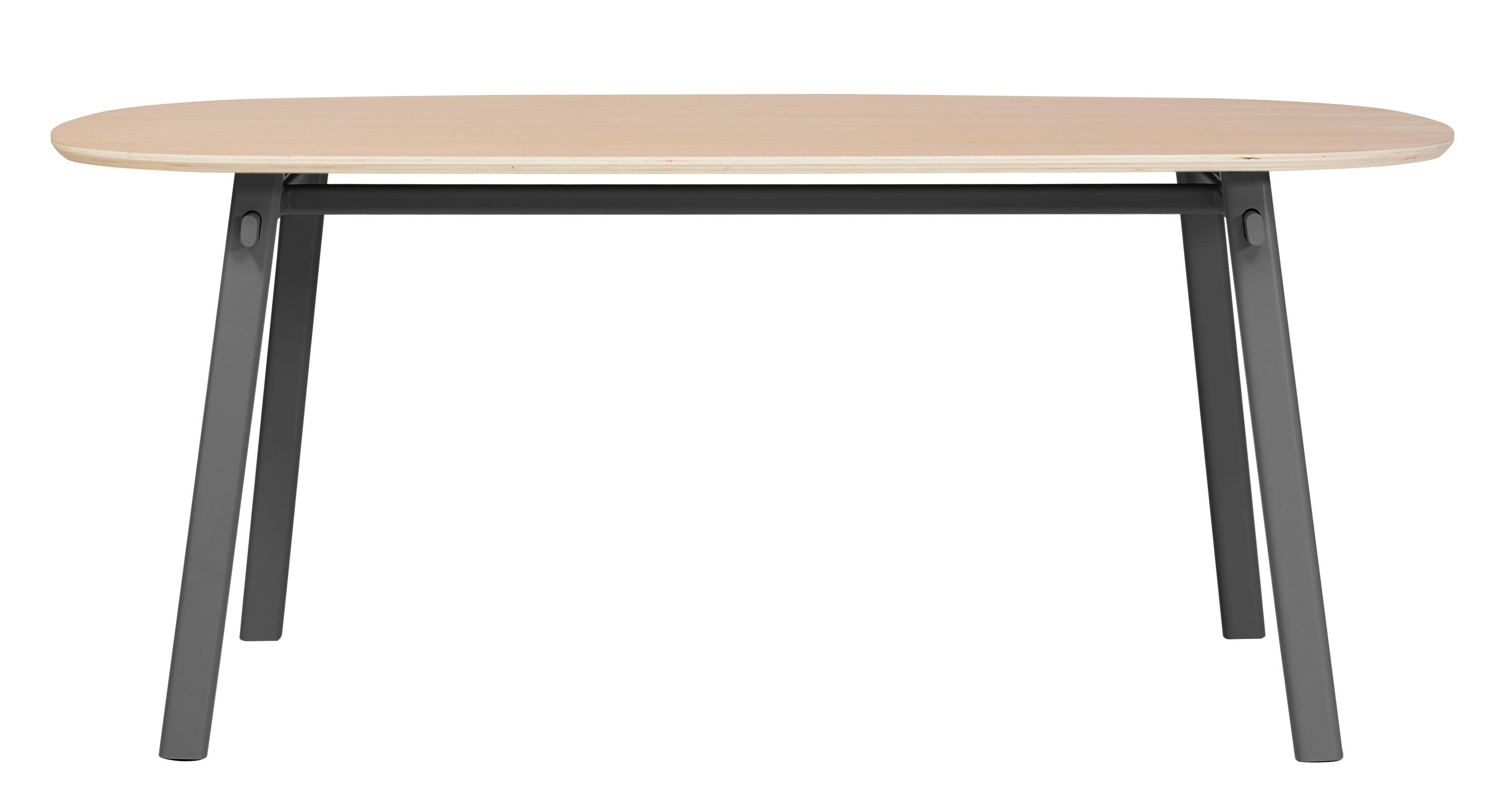 Arredamento - Tavoli - Tavolo Céleste / L 180 cm - Hartô - Grigio ardesia - Compensato, Metallo