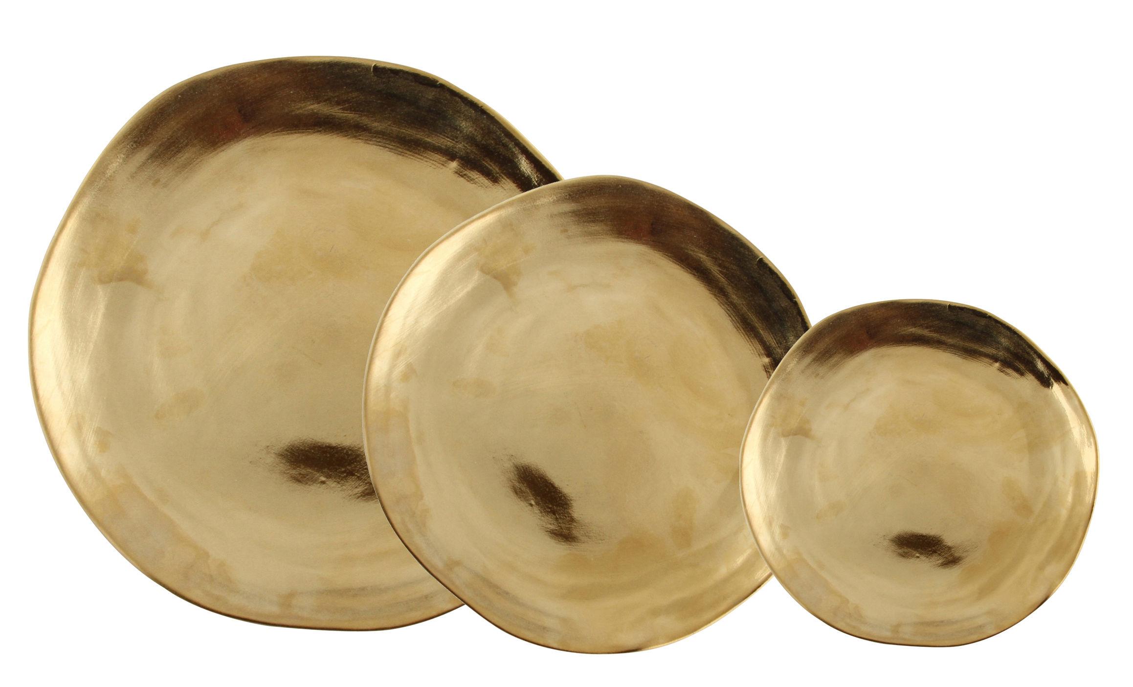 Arts de la table - Assiettes - Assiette Imperfect / Set de 3 - & klevering - Doré - Porcelaine