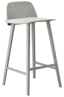 Furniture - Bar Stools - Nerd Bar chair - H 65 cm - Wood by Muuto - Grey - Lacquered ash