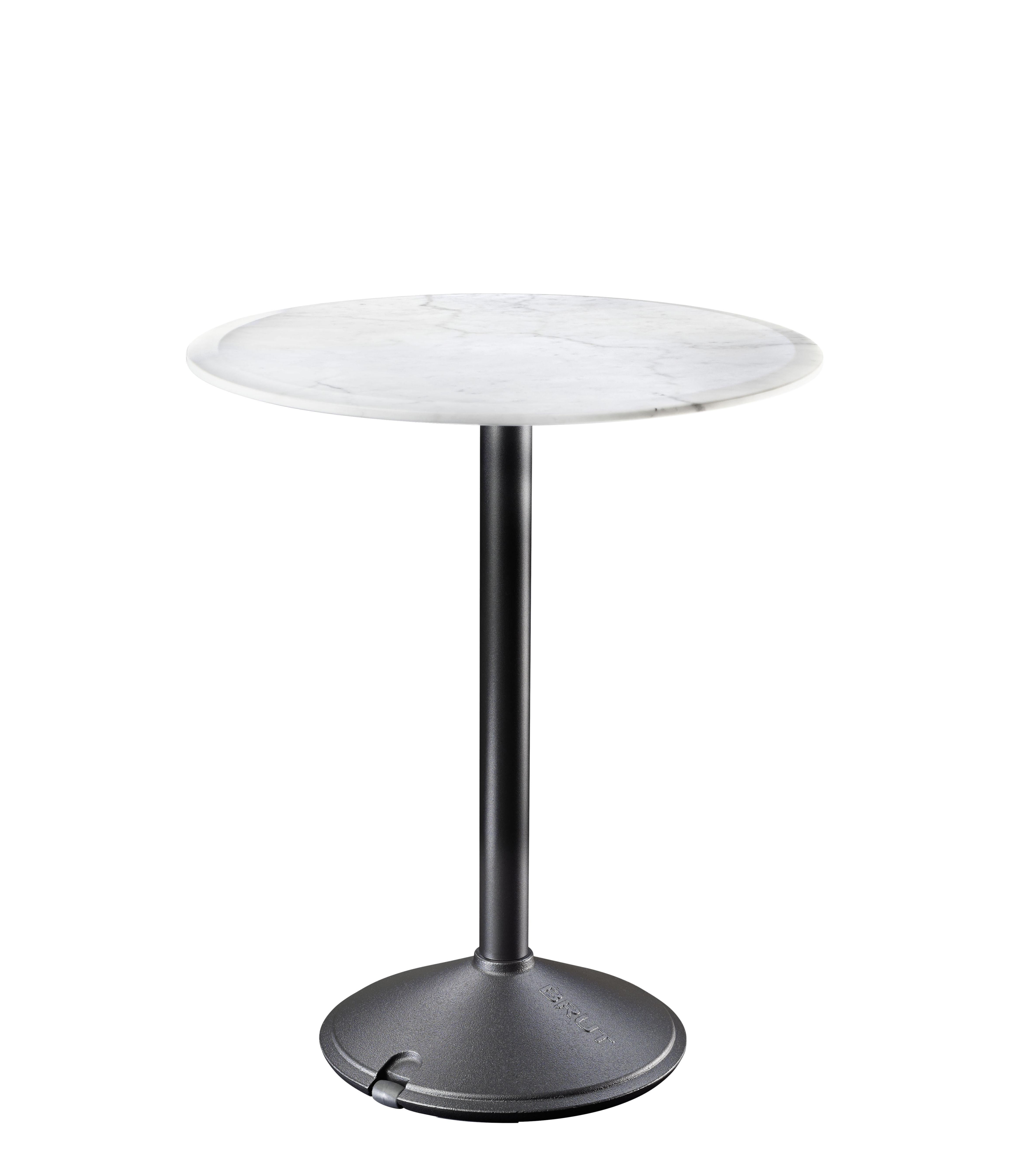 Table ronde Brut Magis - Marbre blanc / Piètement noir - h 74 x Ø 60 ...