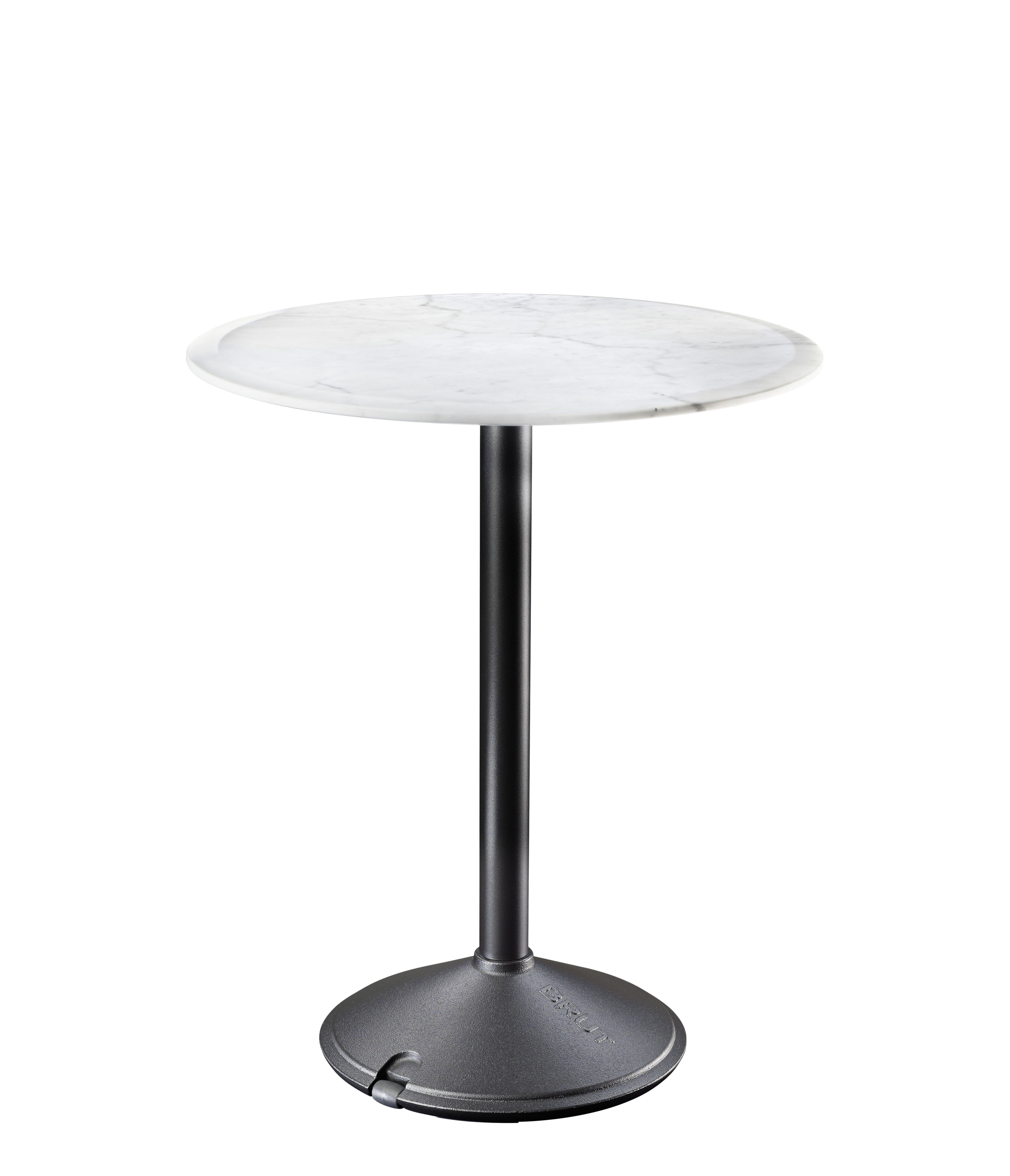 Outdoor - Garden Tables - Brut Round table - / Marble - Outdoor - Ø 60 cm by Magis - White marble / Black base - Cast iron, Marble