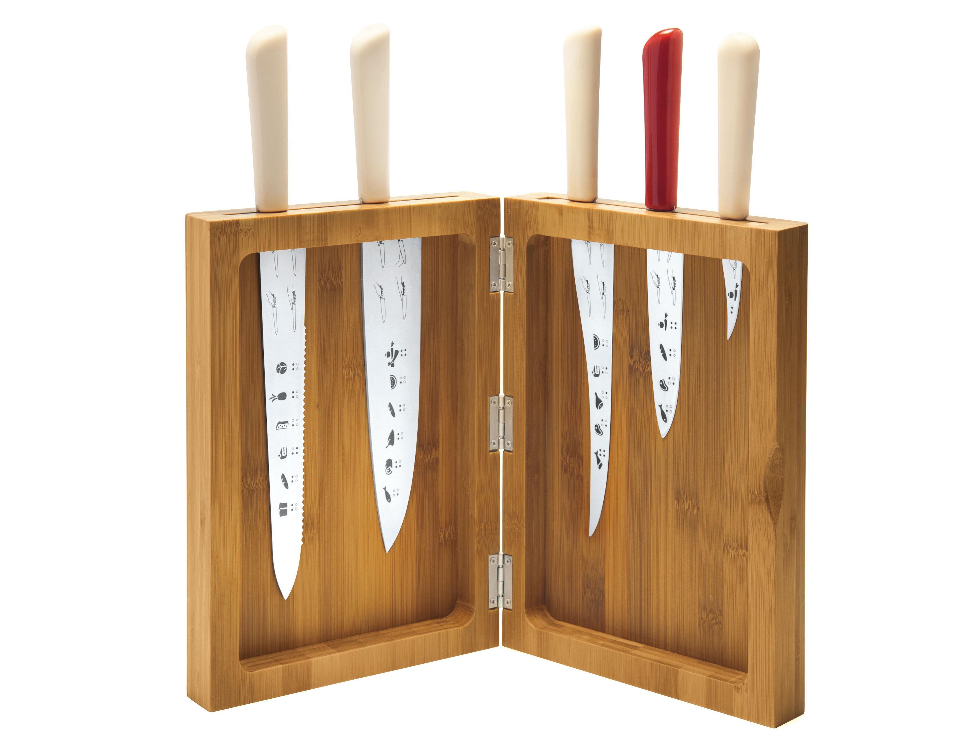 Cucina - Coltelli da cucina - Ceppo coltelli K-block - / Set da 5 coltelli di Alessi - Ceppo coltelli - Bambù - Bambù