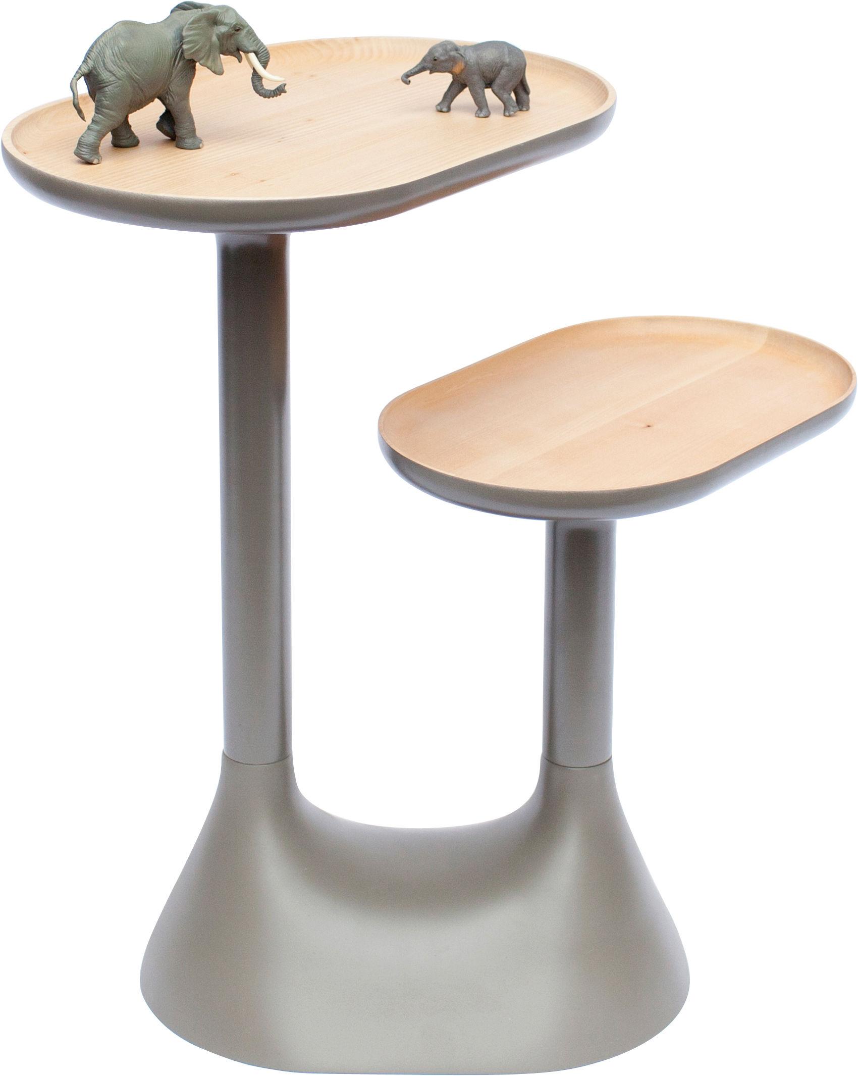 Möbel - Couchtische - Baobab Couchtisch / 2 drehbare Tischplatten - Moustache - Grau - lackierte Buche, Tilleul