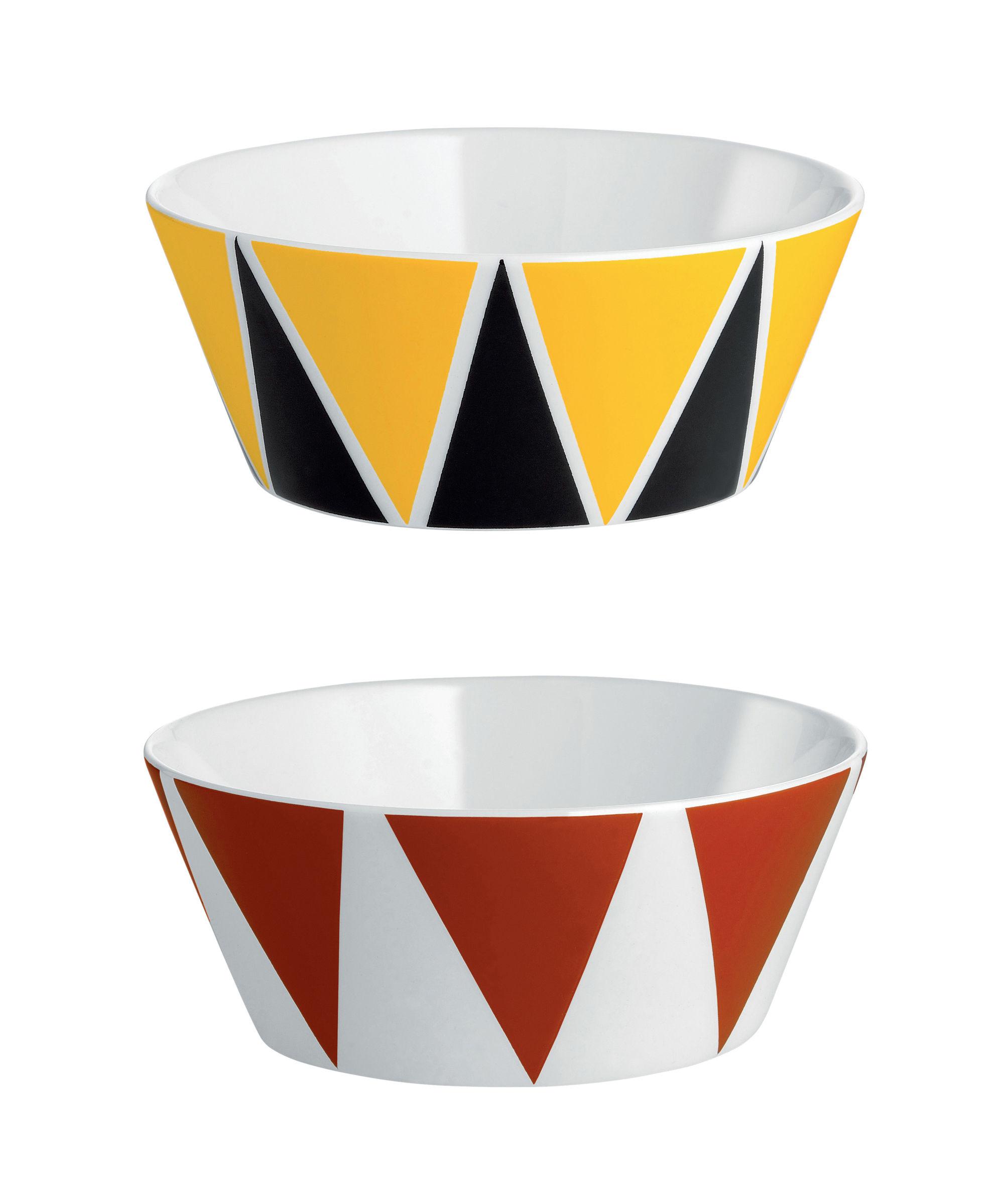 Arts de la table - Saladiers, coupes et bols - Coupelle Circus / Set de 2 - Ø 11 x H 4,5 cm - Porcelaine anglaise - Alessi - Triangles / Multicolore - Porcelaine anglaise