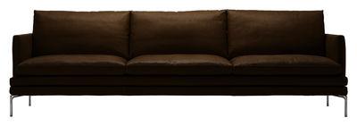 Arredamento - Divani moderni - Divano destro William - versione in cuoio - 3 posti - L 266 cm di Zanotta - Cuoio - Marrone scuro - Alluminio lucido, Pelle