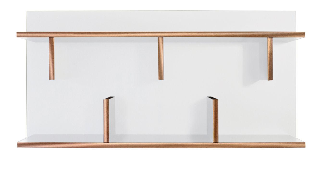 Mobilier - Etagères & bibliothèques - Etagère Rack / L 90 x H 45 cm - POP UP HOME - Blanc / Tranches : bois - Mélamine