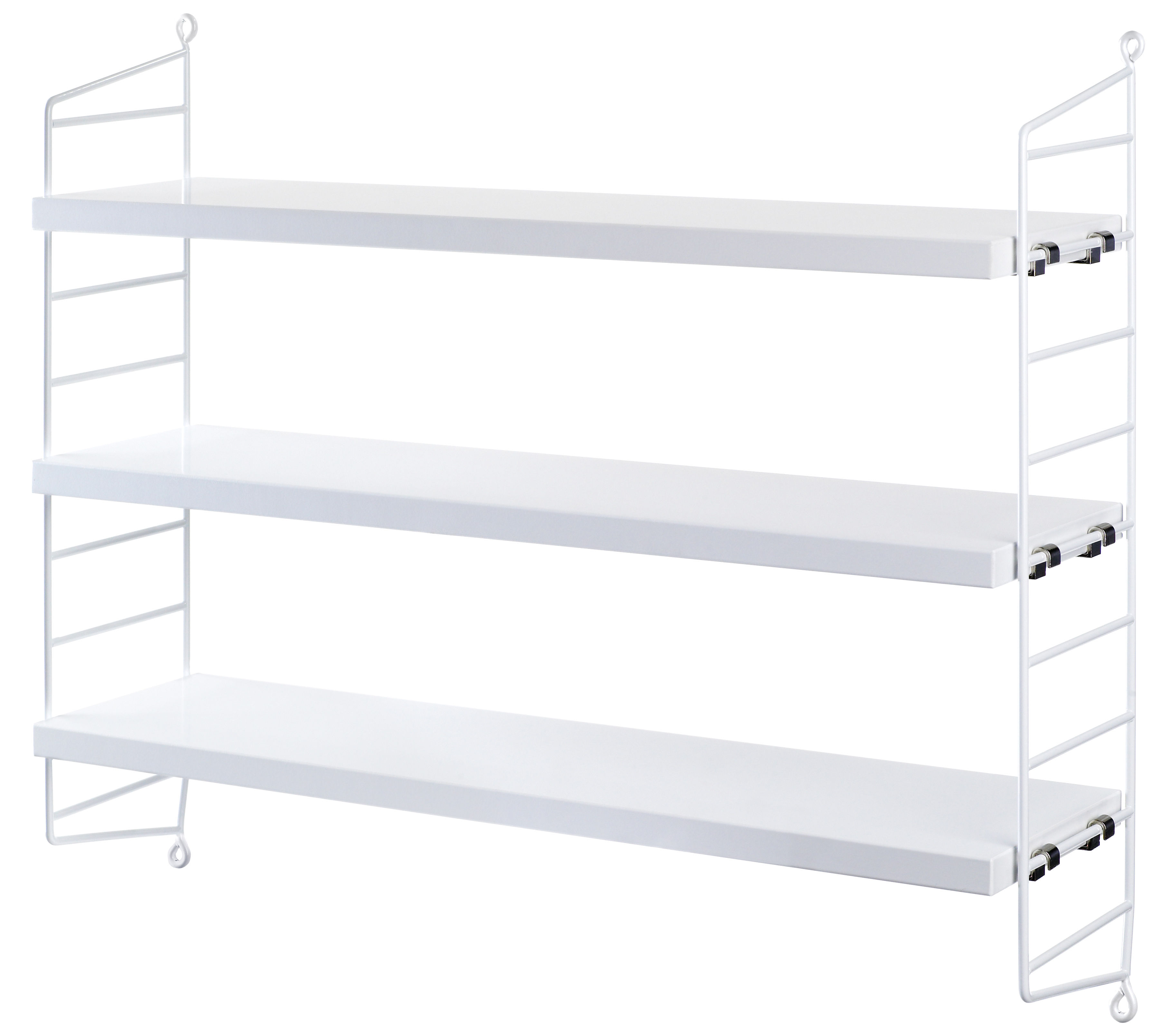 Mobilier - Etagères & bibliothèques - Etagère String Pocket / L 60 x H 50 cm - String Furniture - Blanc / Montants blancs - Acier laqué, MDF peint