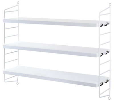Mobilier - Etagères & bibliothèques - Etagère String Pocket / L 60 x H 50 cm - String Furniture - Blanc - Acier laqué, MDF peint