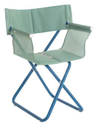 Mobilier - Chaises, fauteuils de salle à manger - Fauteuil pliant Snooze Directeur / Tissu & métal - Emu - Bleu - Acier verni, Tissu technique