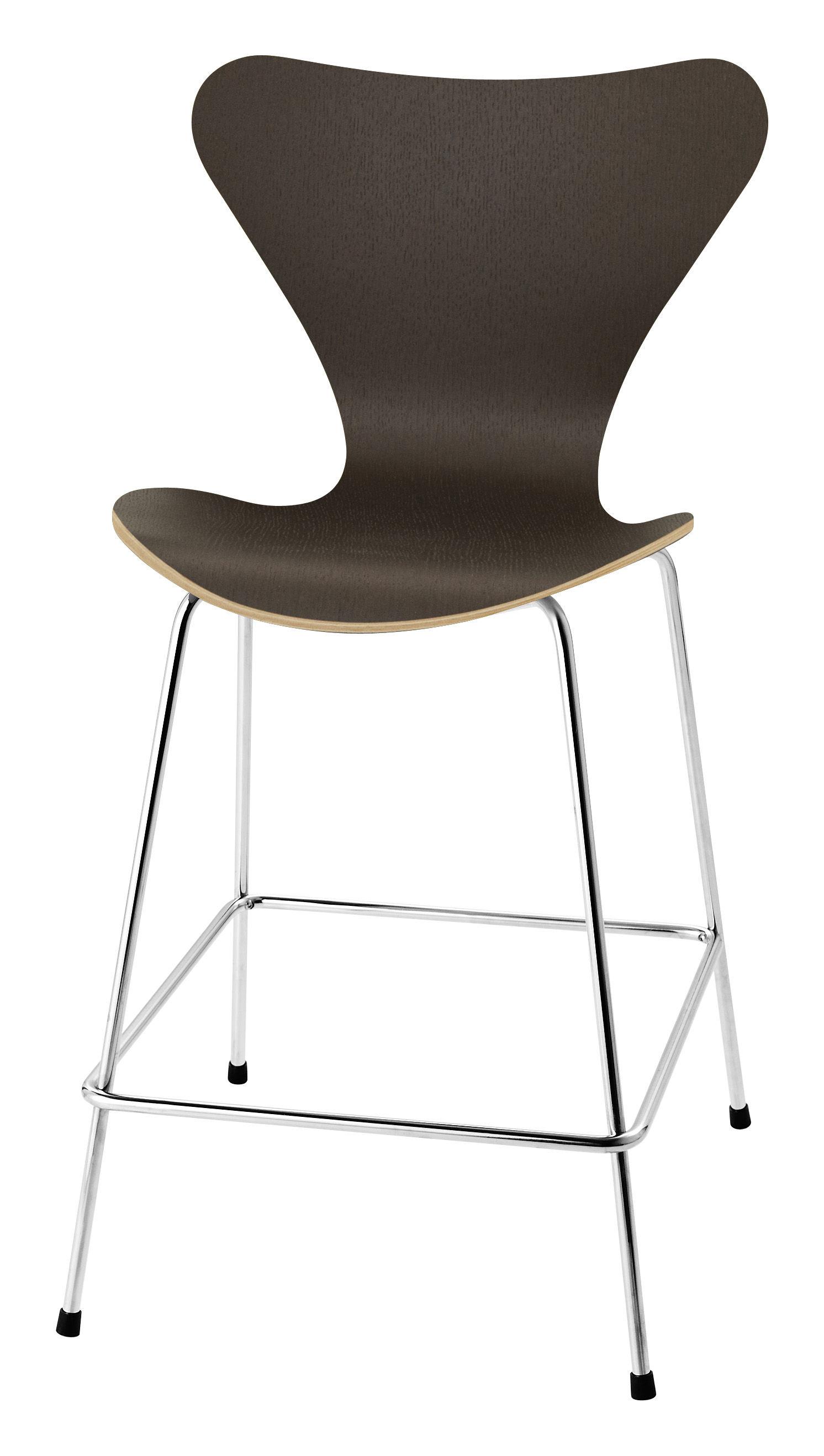 Möbel - Barhocker - Série 7 Hochstuhl H 76 cm - Holz natur - Fritz Hansen - Eiche dunkel, lackiert - Contreplaqué de chêne teinté verni, Stahl