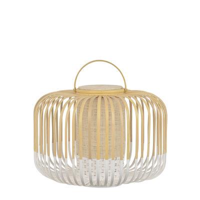 Leuchten - Tischleuchten - Take A Way LED Lampe ohne Kabel / Small - Ø 33 x H 35 cm - USB Aufladung - Forestier - Weiß / Natur - Bambus