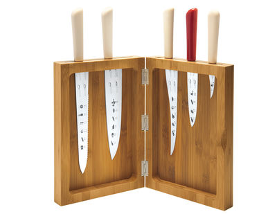 Küche - Küchenmesser - K-block Messerblock / Set für 5 Messer - Alessi - Messerblock - Bambus - Bambus