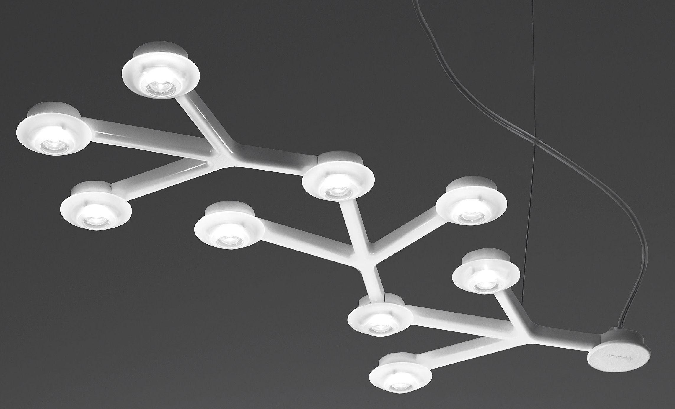 Leuchten - Pendelleuchten - LED NET Pendelleuchte länglich - L 66 cm - Artemide - Weiß - bemaltes Aluminium, Methacrylate
