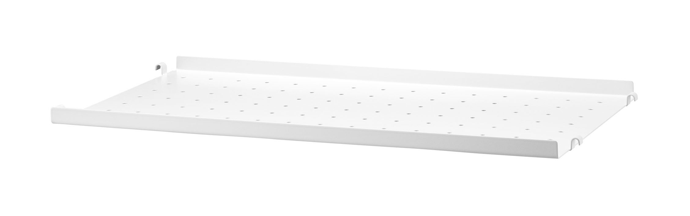 Möbel - Regale und Bücherregale - String System Regal / Lochblech, flacher Rand - L 58 cm x T 30 cm - String Furniture - L 58 cm / weiß - lackiertes Metall