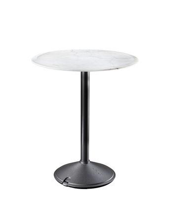 Outdoor - Tische - Brut Runder Tisch / Marmor - outdoorgeeignet - Ø 60 cm - Magis - Marmor weiß / Fußgestell schwarz - Gusseisen, Marmor