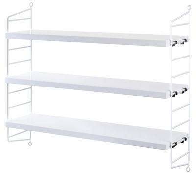 Arredamento - Scaffali e librerie - Scaffale String Pocket - / L 60 x H 50 cm di String Furniture - Bianco - Acciaio laccato, MDF tinto