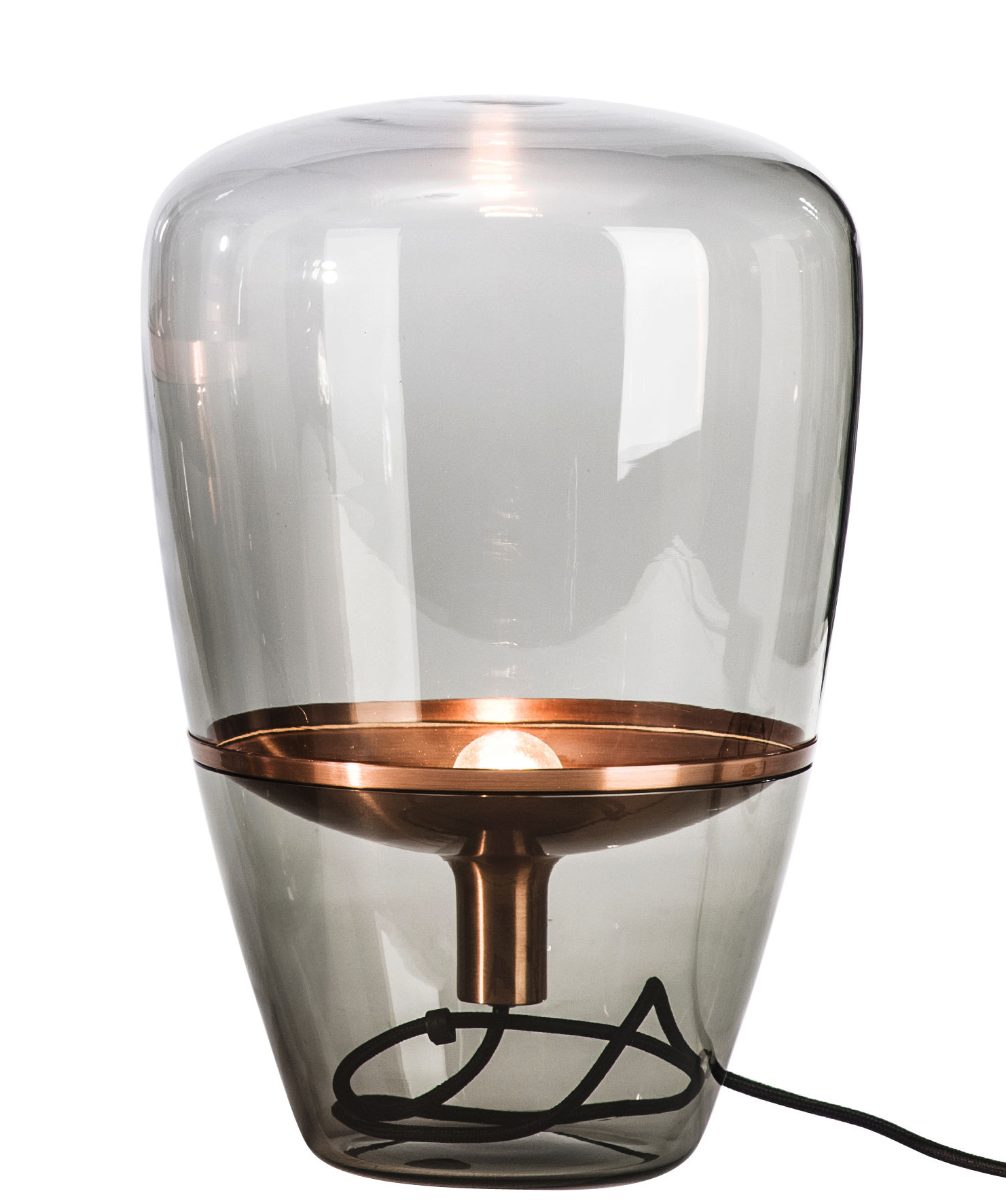 Lighting - Table Lamps - Balloon Small Table lamp by Brokis - Smoke glass / Copper - Copper, Moulded Mouth blown glass