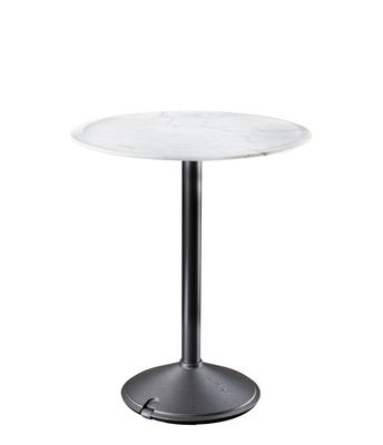 Table ronde Brut / Marbre - Outdoor - Ø 60 cm - Magis blanc/noir en métal/pierre