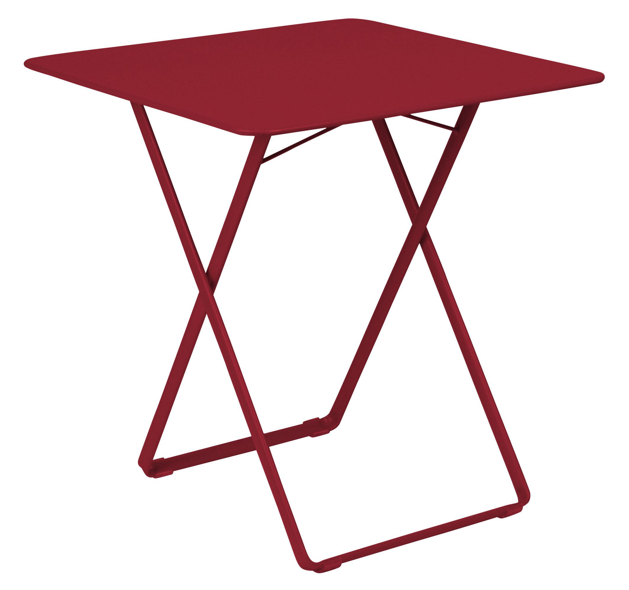 Outdoor - Tavoli  - Tavolo pieghevole Plein Air - 71 x 71cm di Fermob - Peperoncino - Acciaio galvanizzato