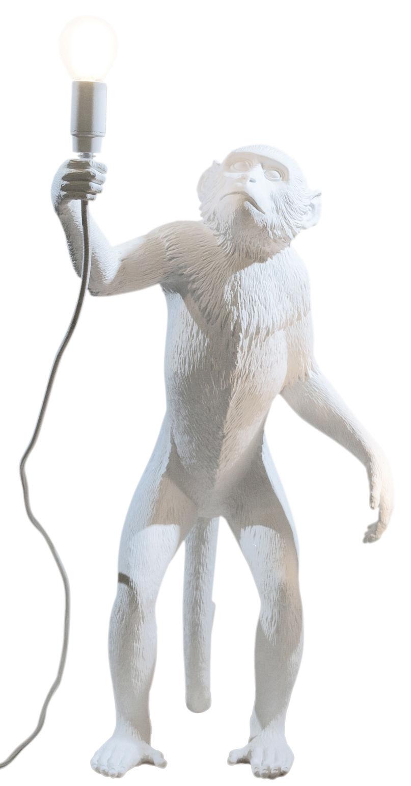 Leuchten - Tischleuchten - Monkey Standing Tischleuchte / H 54 cm - Seletti - Weiß - Harz