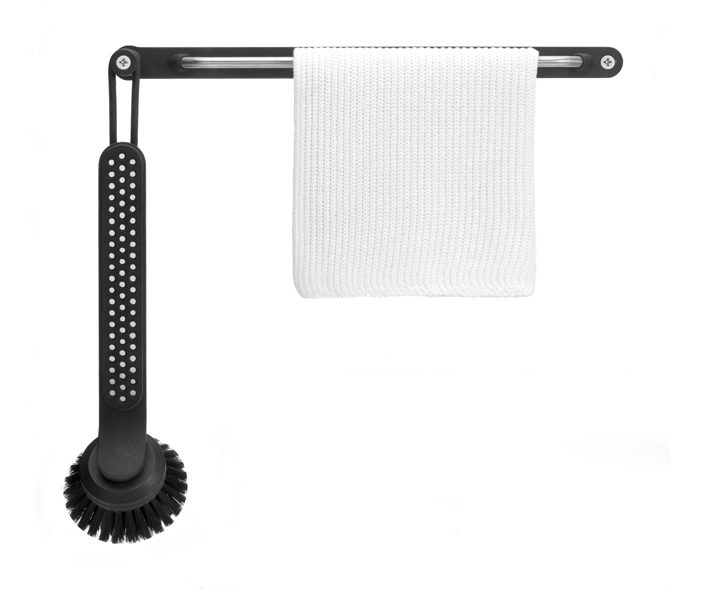 Kitchenware - Kitchen Sink Accessories - Vipp 280 Washing up brush by Vipp - Black & steel - Rubber, Stainless steel