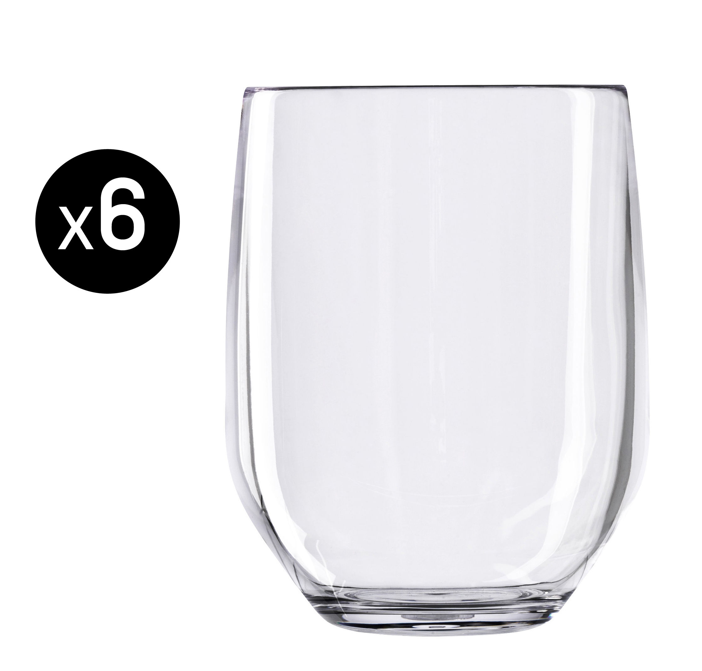 Tableware - Wine Glasses & Glassware - Vertical Party Beach Whisky glass - Set of 6 - 42 cl by Italesse - Clear - Policrystal