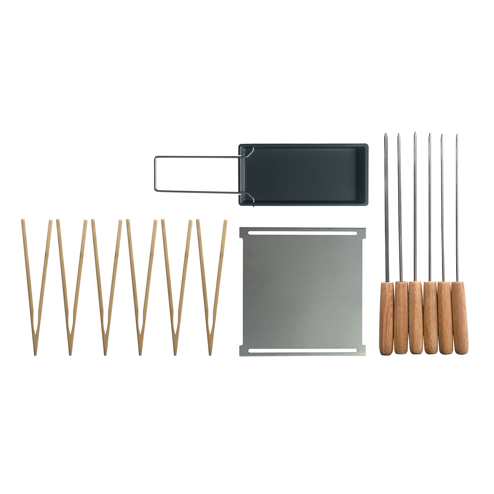 Outdoor - Barbecues & Charcoal Grills - Accessories set - / For Yaki barbecue - Plancha, raclette pan, skewers, tongs by Cookut - Bamboo & steel - Stainless steel, Wood