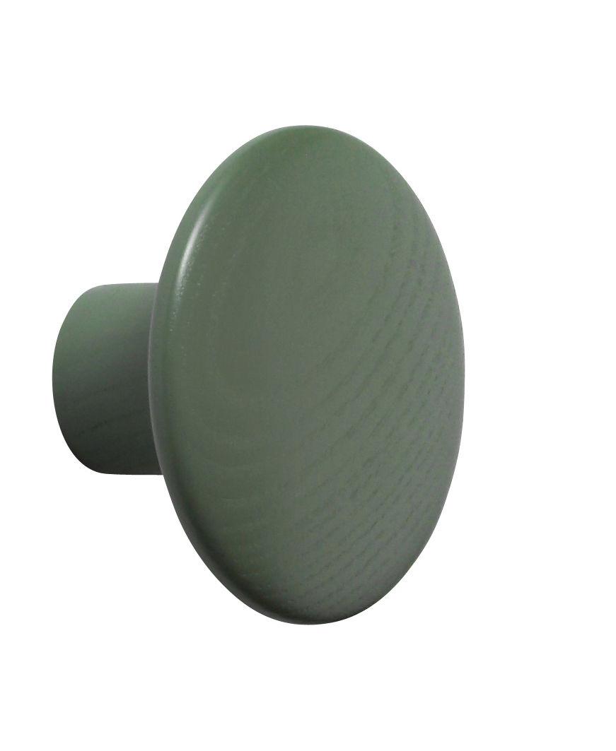 Arredamento - Appendiabiti  - Gancio The dots / Small - Ø 9 cm - Muuto  - Verde Dutsy - Frassino tinto