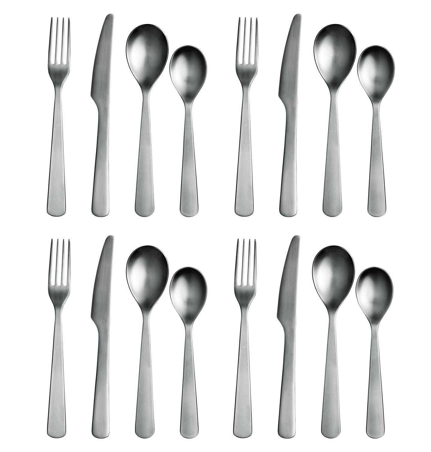 Tischkultur - Bestecke - Normann Besteckgarnitur Set mit 16 Teilen - Normann Copenhagen - Edelstahl matt - Stahl