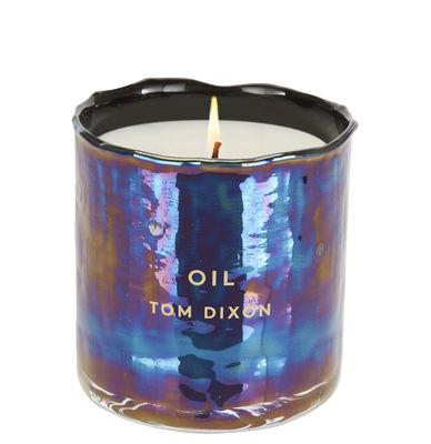 Déco - Bougeoirs, photophores - Bougie Oil Medium / H 9,6 cm - Tom Dixon - Medium - Bleu iridescent - Verre soufflé bouche