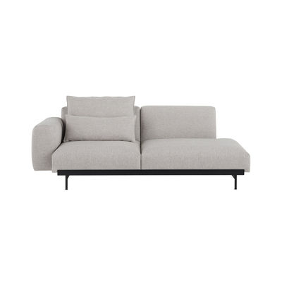 Möbel - Sofas - In Situ n°3 Sofa 2 Sitze / L 198 cm - Armlehne links - Muuto - Armlehne links / Hellgrau -  Ouate, Holz, Kvadrat-Gewebe, Schaumstoff, thermolackierter Stahl