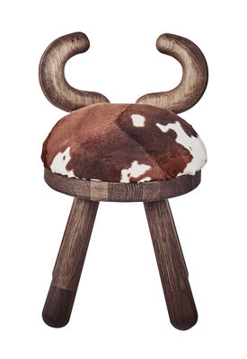 Chaise enfant Cow / H 39 cm - EO marron/bois naturel en tissu/bois