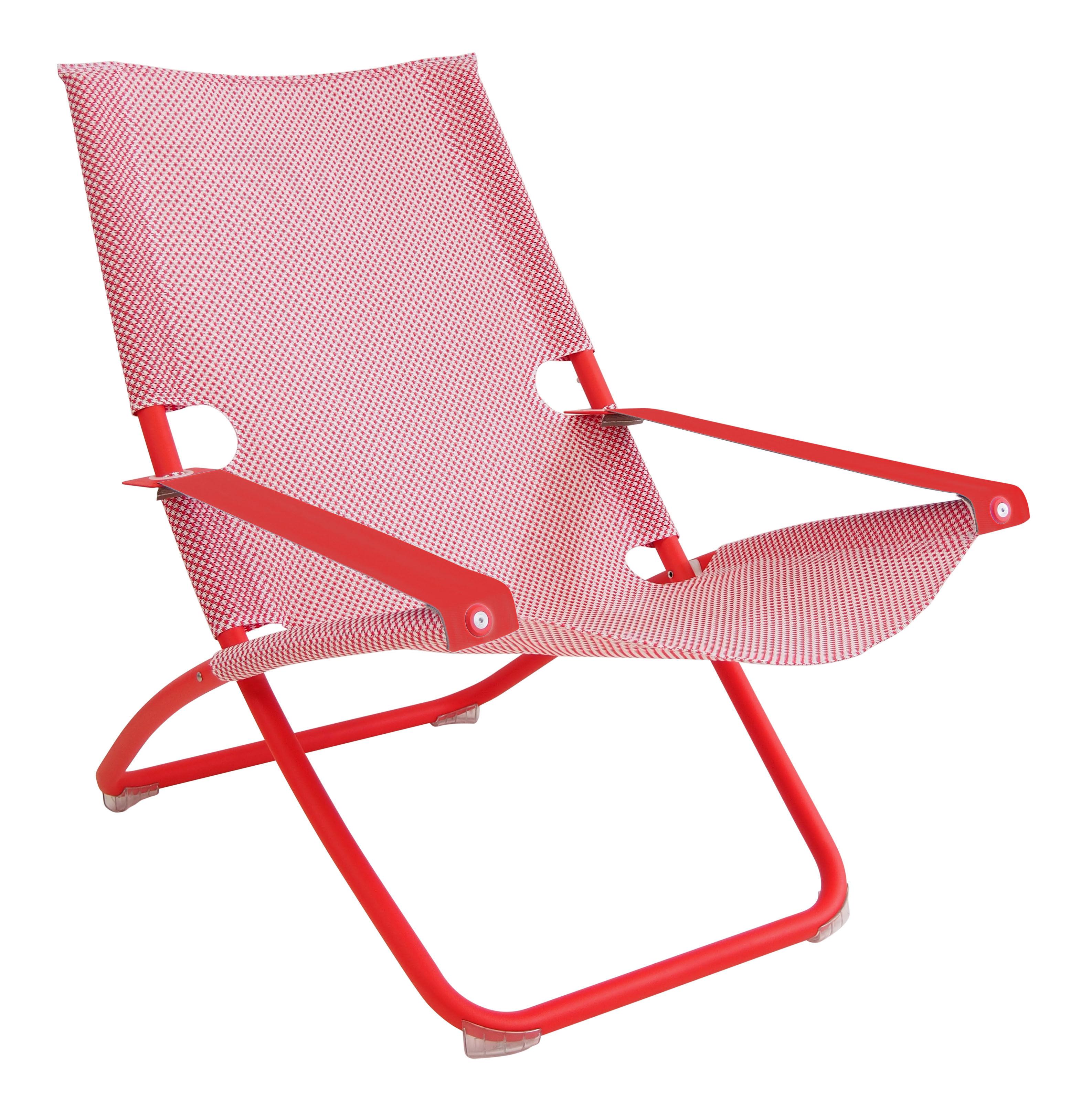 Outdoor - Chaises longues et hamacs - Chaise longue Snooze / Pliable - 2 positions - Emu - Rouge - Acier verni, Tissu technique