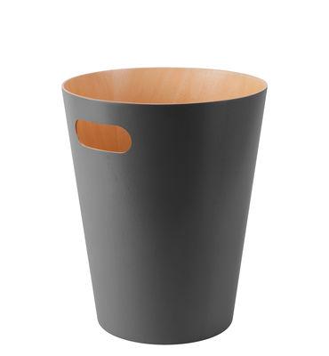 Corbeille à papier Woodrow / Panier en bois - Ø 23 x H 28 cm - Umbra gris/bois naturel en bois