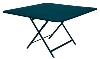 Outdoor - Garden Tables - Caractère Foldable table - / 128 x 128 cm by Fermob - Acapulco blue - Lacquered steel