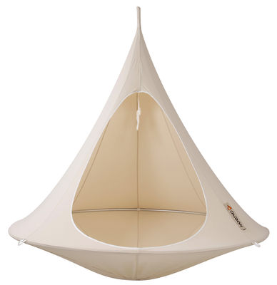 Outdoor - Sun Loungers & Hammocks - Hanging armchair - Double Hanging chair by Cacoon - Natural white - Anodized aluminium, Cloth