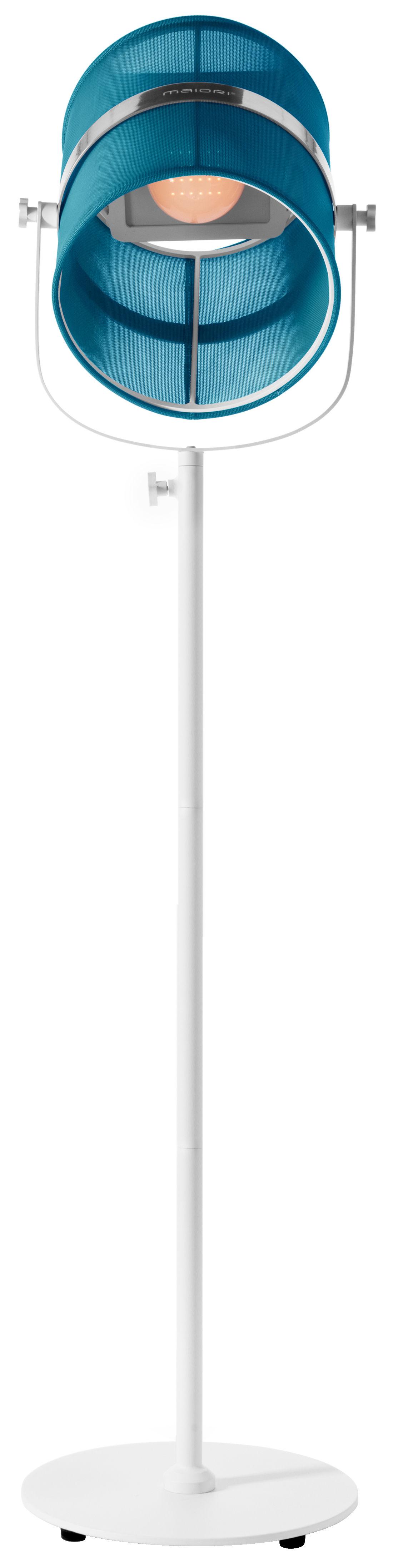 Luminaire - Lampadaires - Lampadaire solaire La Lampe Paris LED / Sans fil - Dock USB - Maiori - Turquoise / Pied blanc - Aluminium peint, Tissu