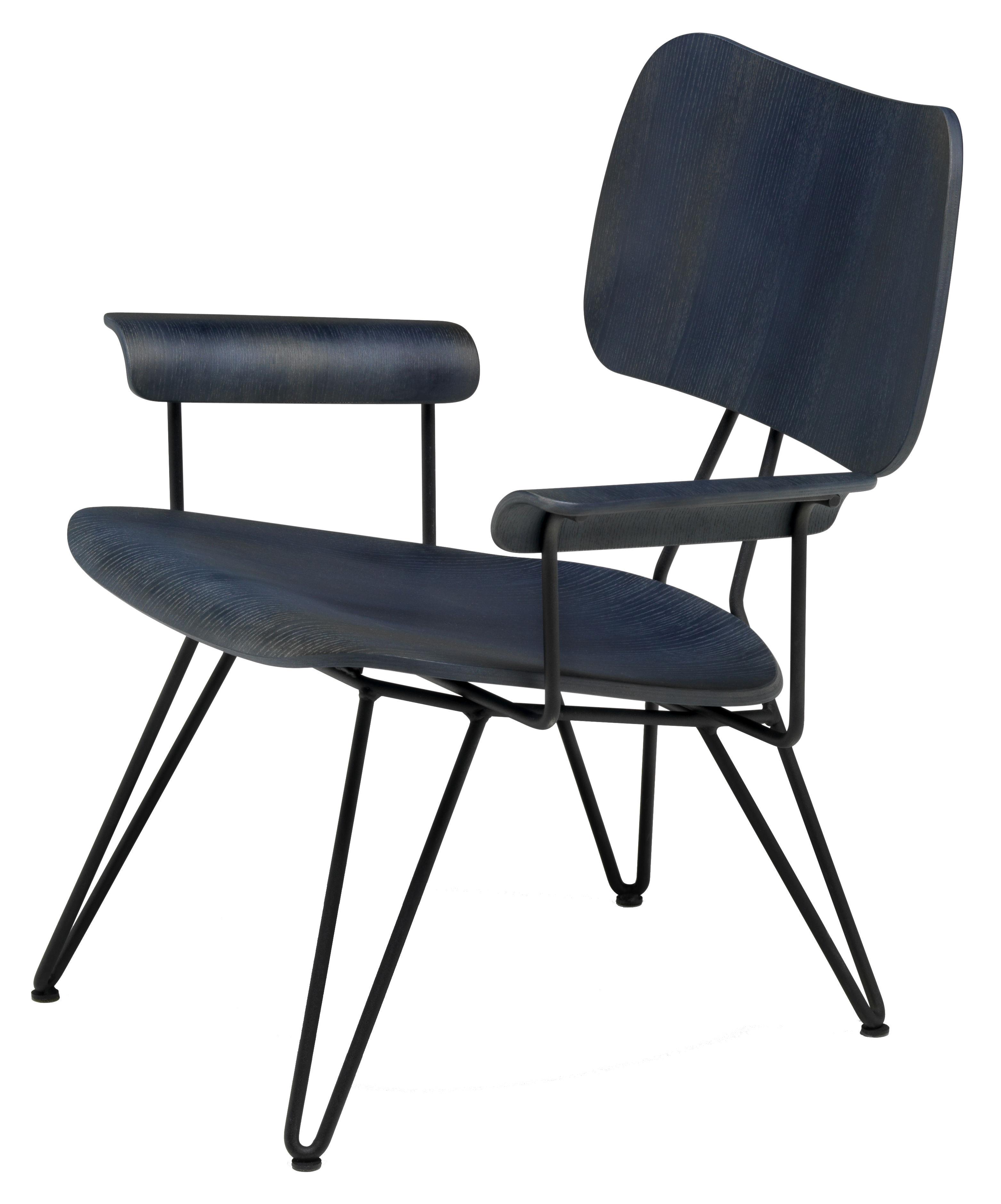Möbel - Lounge Sessel - Overdyed Lounge Sessel - Diesel with Moroso - Indigoblau - lackierter Stahl, Vielschicht-Sperrholz in getönter Esche