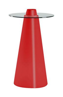 Mobilier - Mange-debout et bars - Mange-debout Peak / Ø 70 x H 120 cm - Slide - Rouge laqué / Transparent - Polyéthylène recyclable rotomoulé, Verre