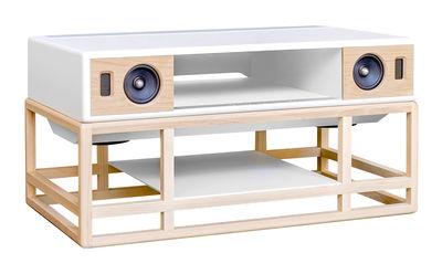 Meuble TV AP 160 Enceinte acoustique haute Fidélité Bluetooth La Boîte Concept blanc,chêne naturel en bois