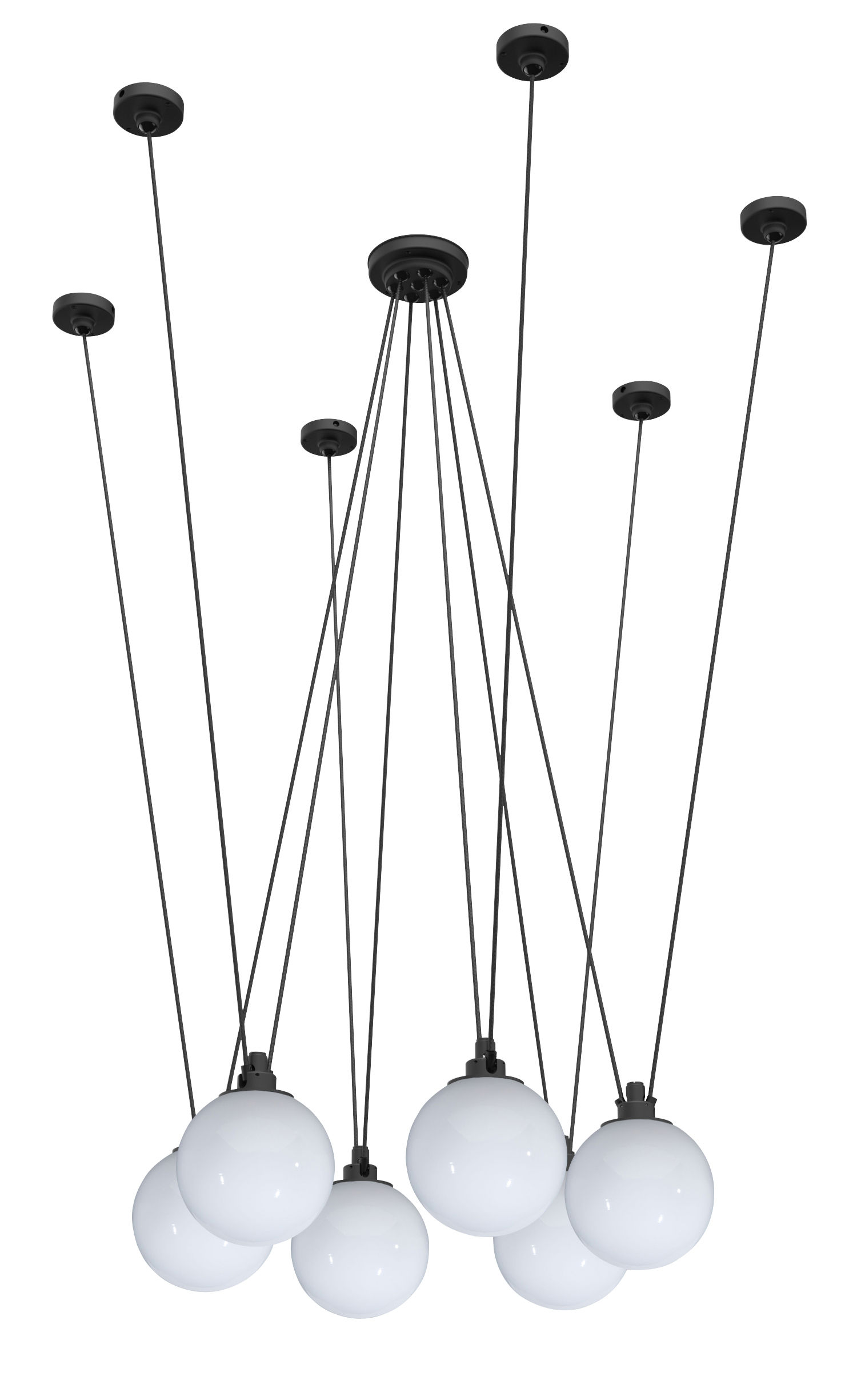 Lighting - Pendant Lighting - Acrobate N°326 Pendant - / Lampes Gras - 6 glass shades Ø 25 cm by DCW éditions - White - Glass
