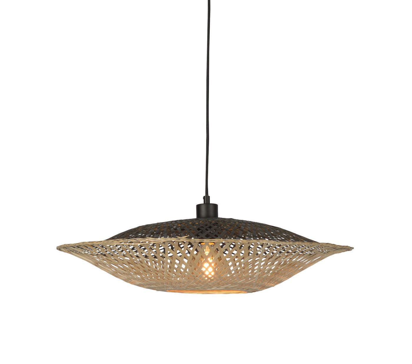 Lighting - Pendant Lighting - Kalimantan Flat Small Pendant - / Bamboo - Ø 60 cm by GOOD&MOJO - H 60 cm / Black & natural - Bamboo