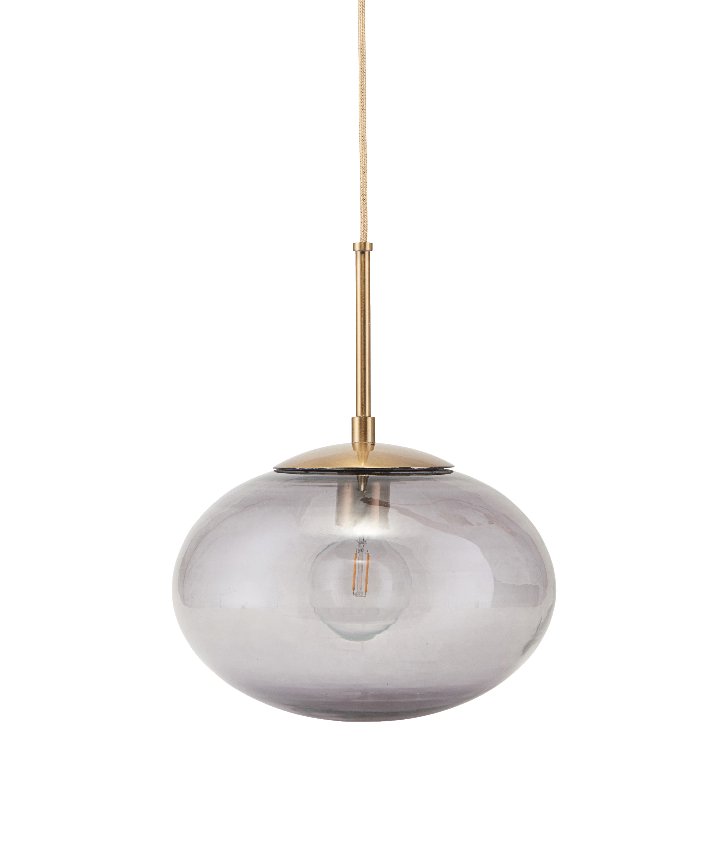 Lighting - Pendant Lighting - Opal Pendant - / Glass - Ø 22 cm by House Doctor - Smoky grey / Brass - Glass, Metal