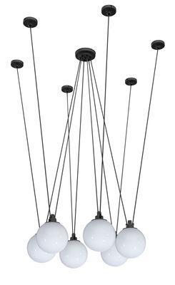 Acrobate N°326 Pendelleuchte / 6 Lampenschirme aus Glas Ø 25 cm - DCW éditions - Weiß