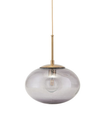 Leuchten - Pendelleuchten - Opal Pendelleuchte / Glas - Ø 22 cm - House Doctor - Rauchglas / Messing - Glas, Metall
