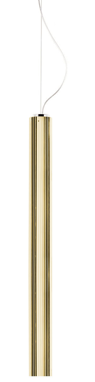 Leuchten - Pendelleuchten - Rifly Pendelleuchte / LED - H 90 cm - Kartell - Goldfarben - Polycarbonate métallisé plissé