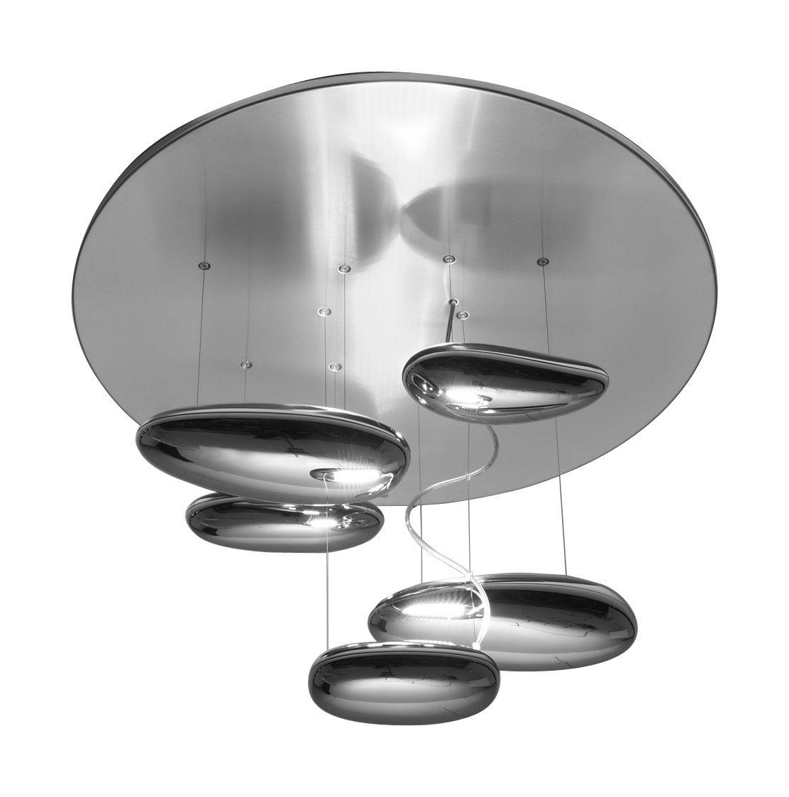 Luminaire - Plafonniers - Plafonnier Mercury mini / Halogène - Ø 70 cm - Artemide - Gris métal & miroir - Acier inoxydable, Aluminium