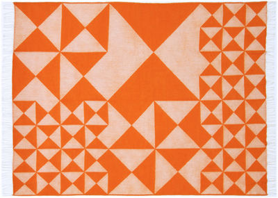Déco - Textile - Plaid Mirror Throw / 130 x 190 cm - Panton 1969 - Verpan - Orange - Laine