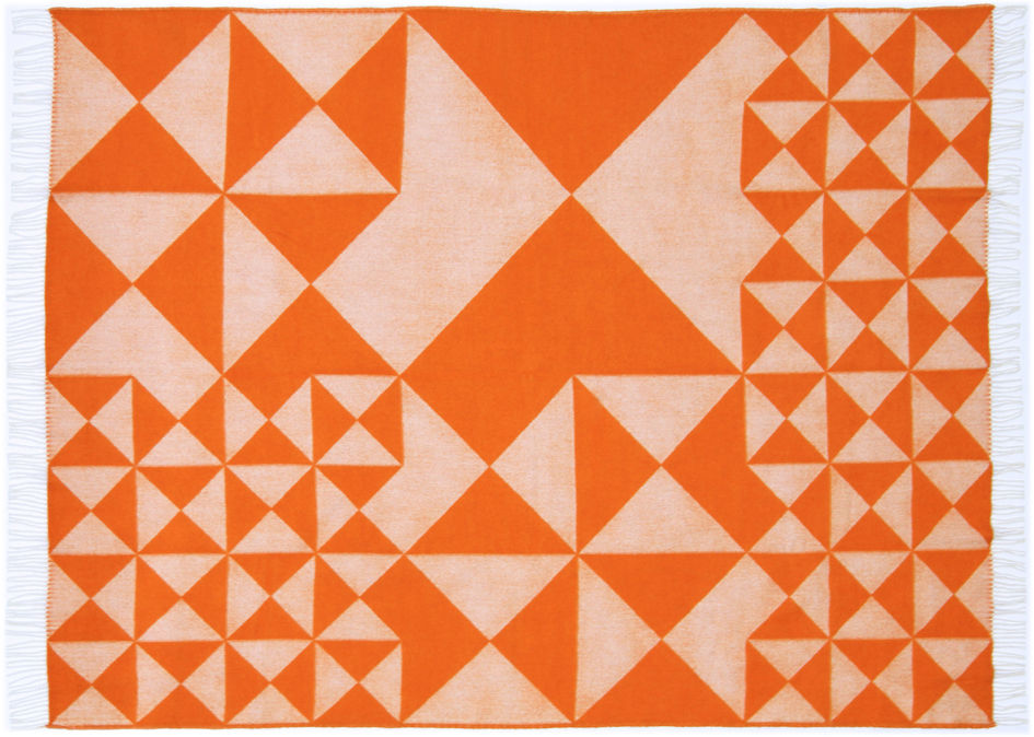 Noël design - Cadeaux insolites - Plaid Mirror Throw / 130 x 190 cm - Panton 1969 - Verpan - Orange - Laine