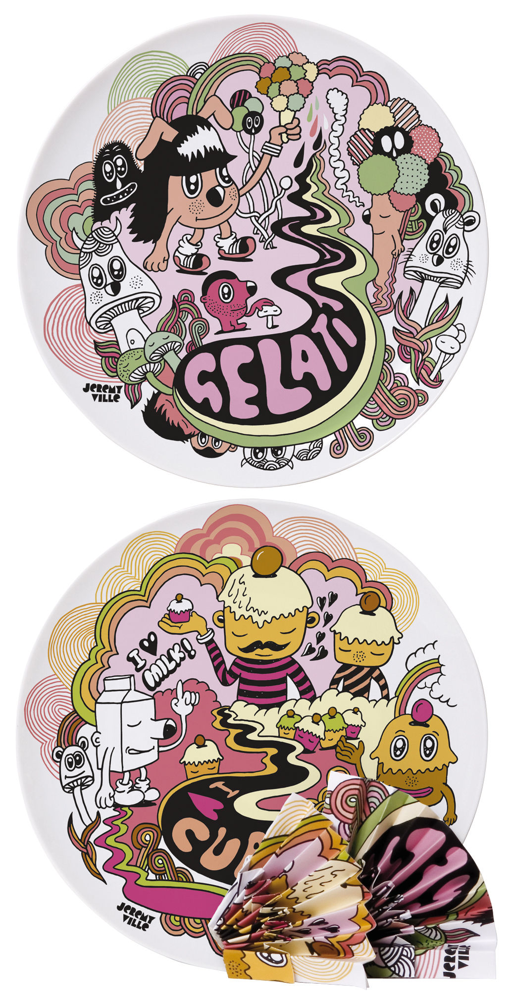 Kitchenware - Fun in the kitchen - Surface 02 - Gelati vs cupcakes Plate - Set of 2 by Domestic -  - China